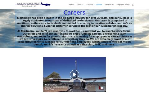 Screenshot of Jobs Page martinaire.com - Careers | Martinaire Aviation LLC - captured July 26, 2018