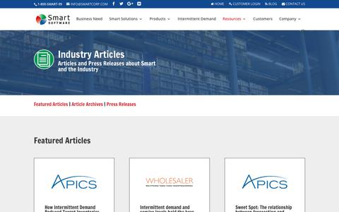 Screenshot of Press Page smartcorp.com - Smart Software - Our News - captured July 1, 2017