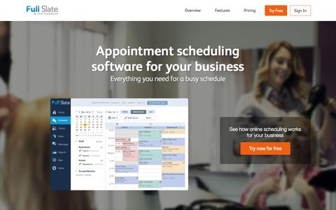 Screenshot of Home Page fullslate.com - Online Appointment Scheduling by Full Slate - captured Oct. 2, 2015