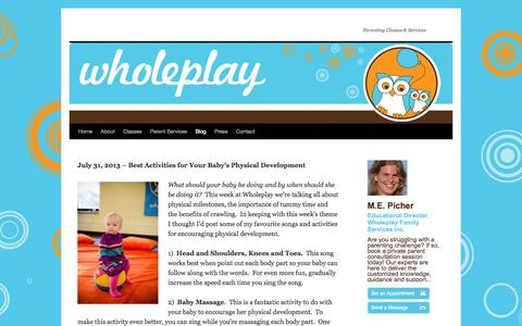 Screenshot of Blog wholeplay.ca - Blog | - captured Oct. 26, 2014