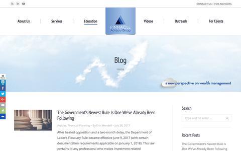 Screenshot of Blog pinnacleadvisory.com - Blog - Pinnacle Advisory Group - The Wealth Management Advisors - captured Aug. 3, 2017