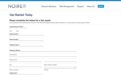 Screenshot of Signup Page noirepay.com - Get Started Today | Noirepay - captured Oct. 7, 2014