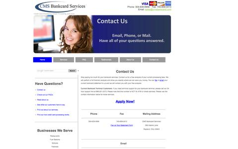 Screenshot of Contact Page cmsbankcard.com - Contact CMS Bankcard Services - captured Oct. 1, 2014
