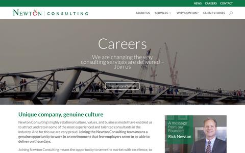 Screenshot of Jobs Page newtonconsulting.com - CAREERS - Newton Consulting - captured July 8, 2016