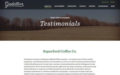 Screenshot of Testimonials Page goodnature.com - Testimonials - Goodnature - captured Nov. 10, 2016