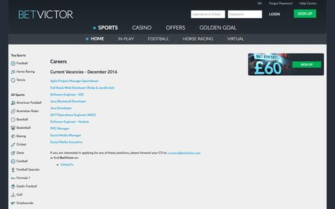 Screenshot of Jobs Page betvictor.com - Sports - Careers - BetVictor - captured Dec. 25, 2016