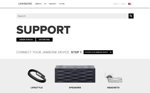 Screenshot of Support Page jawbone.com - Jawbone Support | Get Your Questions Answered - captured July 20, 2014