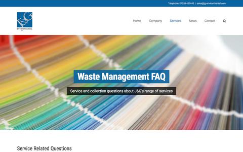 Screenshot of FAQ Page jg-environmental.com - Waste Management FAQ & Service Information - J&G Environmental - captured Sept. 28, 2017