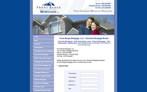 Screenshot of Contact Page frontrangemortgage.com - Front Range Mortgage - Colorado Mortgages: Home Loans at Internet Prices - captured Oct. 6, 2014