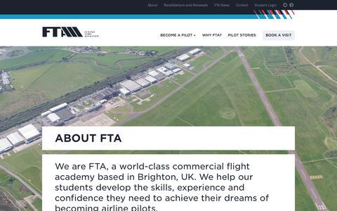 Screenshot of About Page fta-global.com - About FTA - Pilot Flight Training Academy UK - captured Oct. 5, 2014