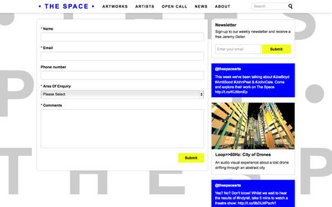 Screenshot of Contact Page thespace.org - Contact Us - The Space - captured Sept. 19, 2014