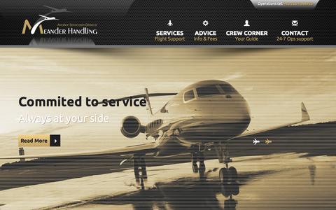 Screenshot of Home Page meanderhandling.com - General Aviation - Meander Handling Corfu - captured Sept. 6, 2015