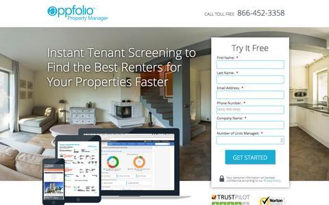 Screenshot of Landing Page appfolio.com - Property Management Software SEM-LP2 - captured Aug. 25, 2016