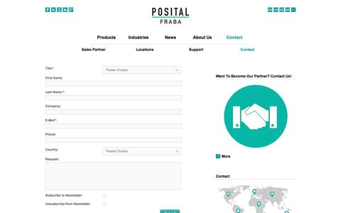 Screenshot of Signup Page posital.com - POSITAL Contact Form: Send us your Request or Question - captured Feb. 27, 2017