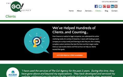 Screenshot of Case Studies Page thegoagencyusa.com - Clients | The Go! Agency - Online Marketing Specialists - captured Sept. 27, 2016