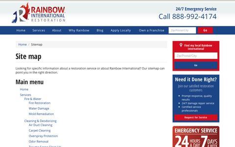 Screenshot of Site Map Page rainbowintl.com - Site map | Rainbow International - captured March 24, 2017