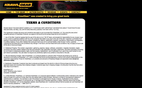 Screenshot of Terms Page krawlgear.com - KrawlGear - TERMS & CONDITIONS - captured Oct. 6, 2014