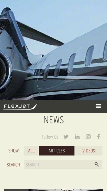 Screenshot of Press Page  flexjet.com - News - Flexjet And Aviation Industry Updates