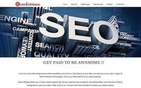 Screenshot of Jobs Page braininfobase.com - India To Cross U.S. Become Second-Largest Internet Market Soon - Brininfobase Technologies - captured Feb. 8, 2016