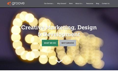 Screenshot of Home Page gotgroove.com - Magento Experts | Hubspot Platinum Partner | Groove: Creative Marketing, Design & Development - captured Feb. 13, 2016