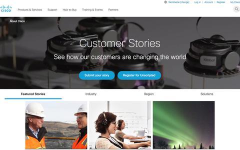 Screenshot of Case Studies Page cisco.com - Case Studies and Customer Success Stories - Cisco - captured Nov. 28, 2017