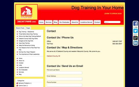 Screenshot of Contact Page obedientpaws.com - Expert Obedience Trainer Royal Oak - Dog Training in Your Home - captured Jan. 23, 2016