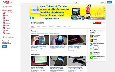 Screenshot of YouTube Page youtube.com - sistemasumma  - YouTube - captured Oct. 31, 2014