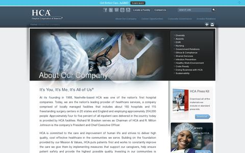 Screenshot of About Page hcahealthcare.com - About Our Company | HCA Healthcare - captured July 18, 2014
