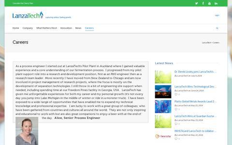 Screenshot of Jobs Page lanzatech.com - Careers | LanzaTech - captured July 19, 2014