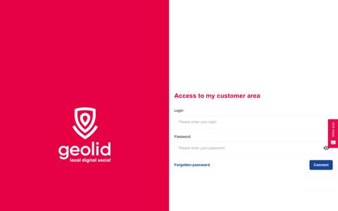 Screenshot of Login Page geolid.com - Geolid customer area - captured Dec. 7, 2018