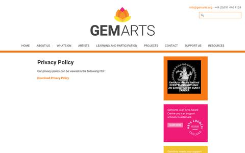 Screenshot of Privacy Page gemarts.org - GemArts » Privacy Policy - captured Sept. 27, 2018