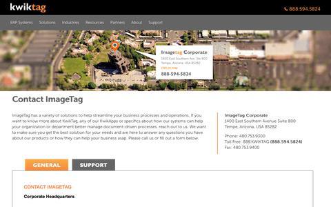 Screenshot of Contact Page kwiktag.com - Contact ImageTag - captured Aug. 18, 2019