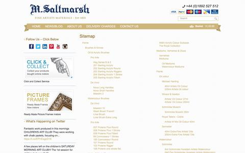 Screenshot of Site Map Page msaltmarsh.com - Art Materials & Artist Shop | M. Saltmarsh | | Sitemap - captured Feb. 3, 2016