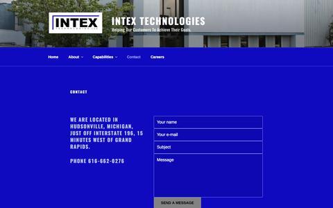 Screenshot of Contact Page intextech.net - Contact - Intex Technologies - captured Oct. 15, 2017