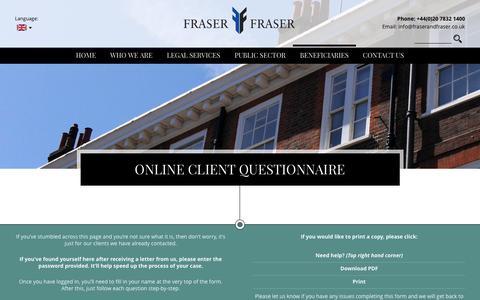 Screenshot of Login Page fraserandfraser.co.uk - Online Client Questionnaire | Fraser and Fraser - captured Feb. 10, 2016