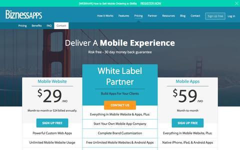 Screenshot of Pricing Page biznessapps.com - Pricing - Bizness Apps - captured April 22, 2016