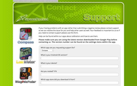 Screenshot of Support Page spacerocket.co.uk - Support | SpaceRocket is an Indie Android App Studio Based in England - captured Dec. 21, 2016