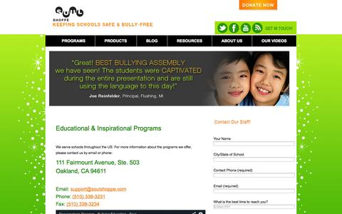 Screenshot of Contact Page soulshoppe.com - Contact Us | Soul Shoppe - captured Oct. 8, 2014