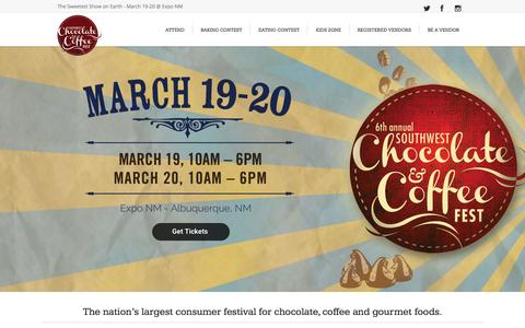 Screenshot of Home Page chocolateandcoffeefest.com - Southwest Chocolate and Coffee Fest | Sweetest Show on Earth - captured Feb. 16, 2016