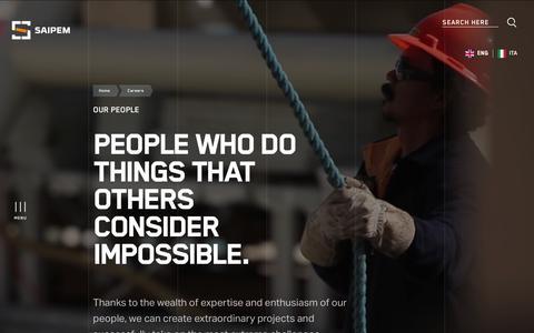 Screenshot of Team Page saipem.com - Careers, Our People | Saipem - captured Nov. 18, 2019