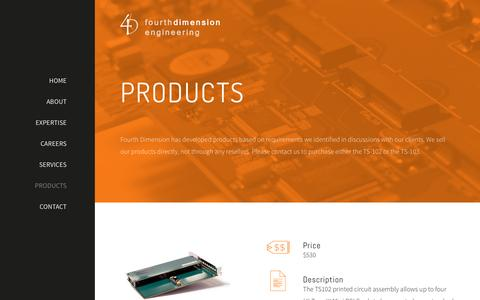 Screenshot of Products Page fourthdim.com - Products - captured Feb. 10, 2016