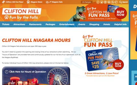 Screenshot of Hours Page cliftonhill.com - Clifton Hill Niagara Hours | Clifton Hill, Niagara Falls Canada - captured Nov. 24, 2016