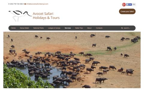 Screenshot of Services Page avocetsafariskenya.com - Services » Avocet Safaris - captured Feb. 6, 2016