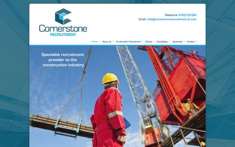 Screenshot of Home Page cornerstoneconstructionrecruitment.co.uk - Cornerstone Recruitment Home | Construction and Building Taunton Somerset - captured Oct. 3, 2014