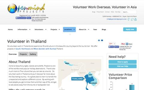 Screenshot of Locations Page openmindprojects.org - Volunteer in Thailand with Openmind Projects - captured Oct. 7, 2014
