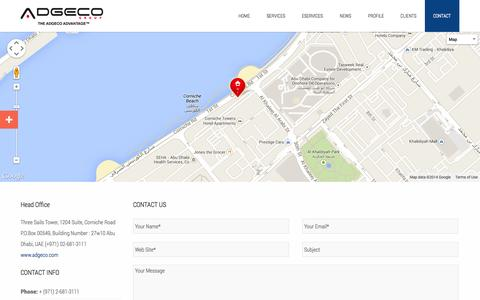 Screenshot of Contact Page adgeco.com - Contact Us - Adgeco Group of Companies United Arab Emirates - captured Sept. 25, 2014