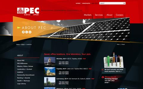 Screenshot of Contact Page Locations Page pec1.com - Professional Engineering Consultants [About - Locations] - captured Oct. 22, 2014