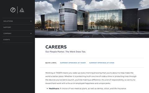 Screenshot of Jobs Page taser.com - Careers - captured Jan. 29, 2017
