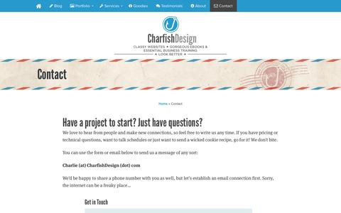 Screenshot of Contact Page charfishdesign.com - Contact » Charfish Design - captured Sept. 24, 2014