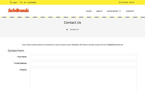 Screenshot of Contact Page safebrands.net - Contact Us - captured Sept. 28, 2017